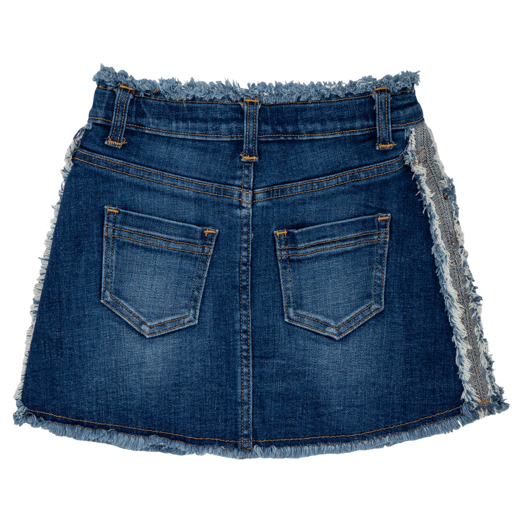 teenage girls dark denim skirt with frayed edges