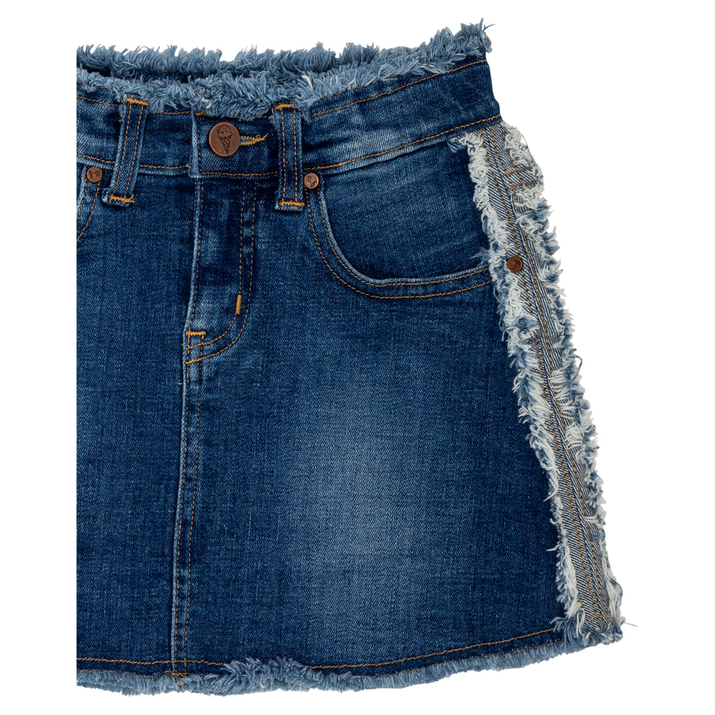 teen girl dark wash denim skirt with raw edge detail