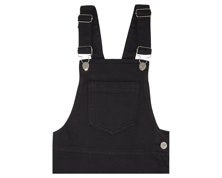 teen girl black denim pinafore with adjustable straps