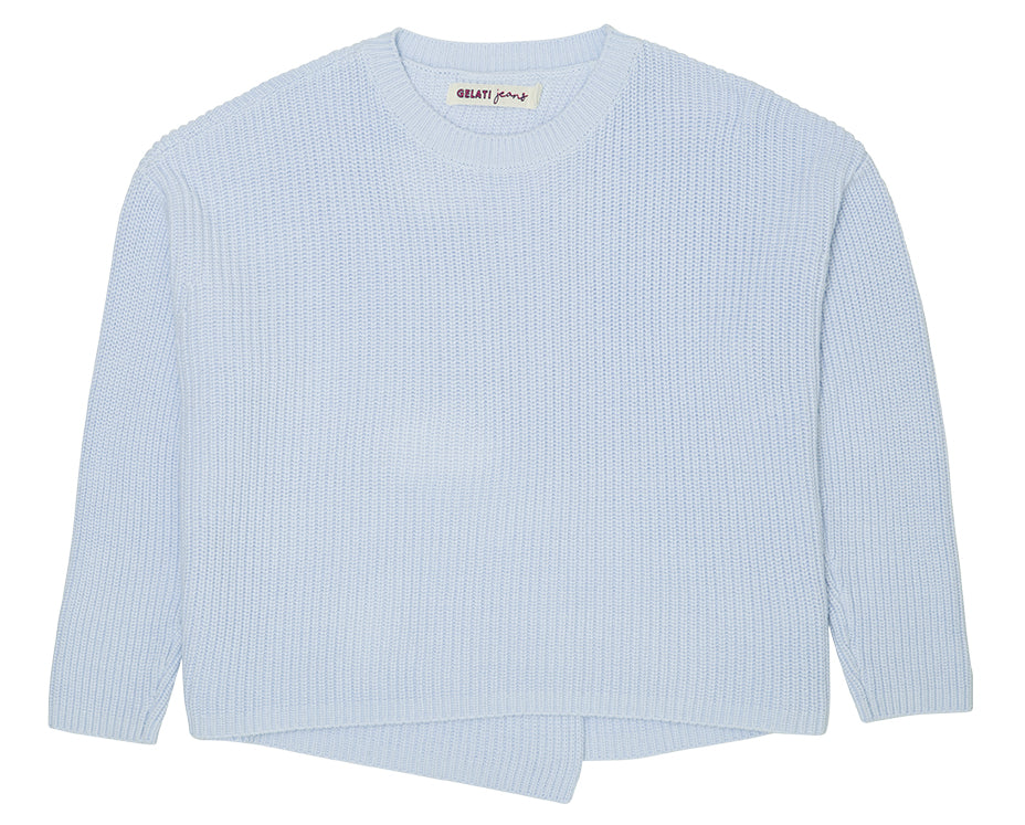 teen girl knitted jumper in blue cross back detail