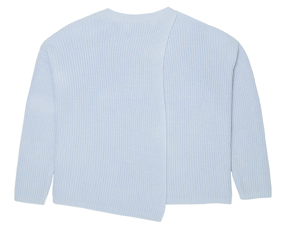 teenage girl knitted cross back jumper in pale blue
