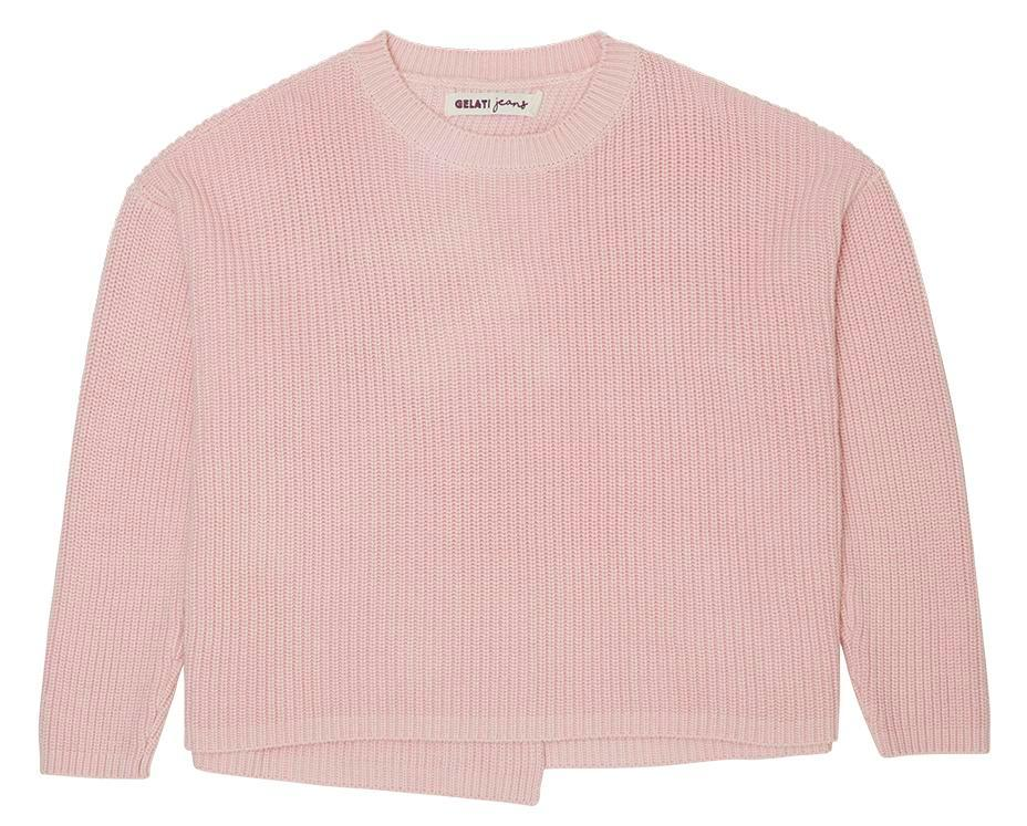 cross back knit jumper in peach teen girl