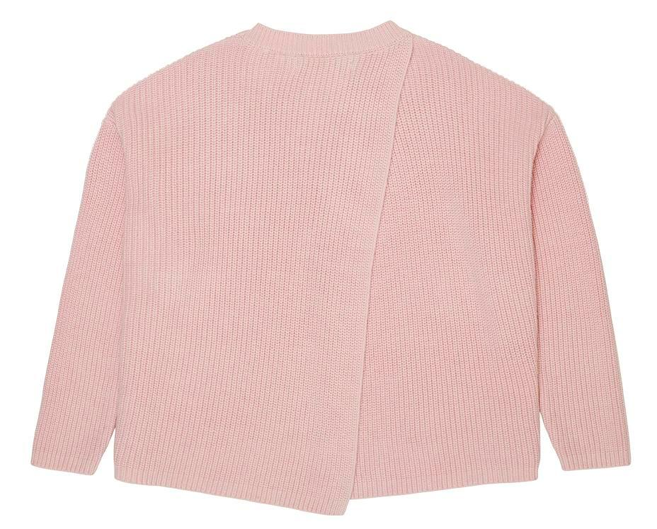 teen girl knitted jumper in pink cross back detail