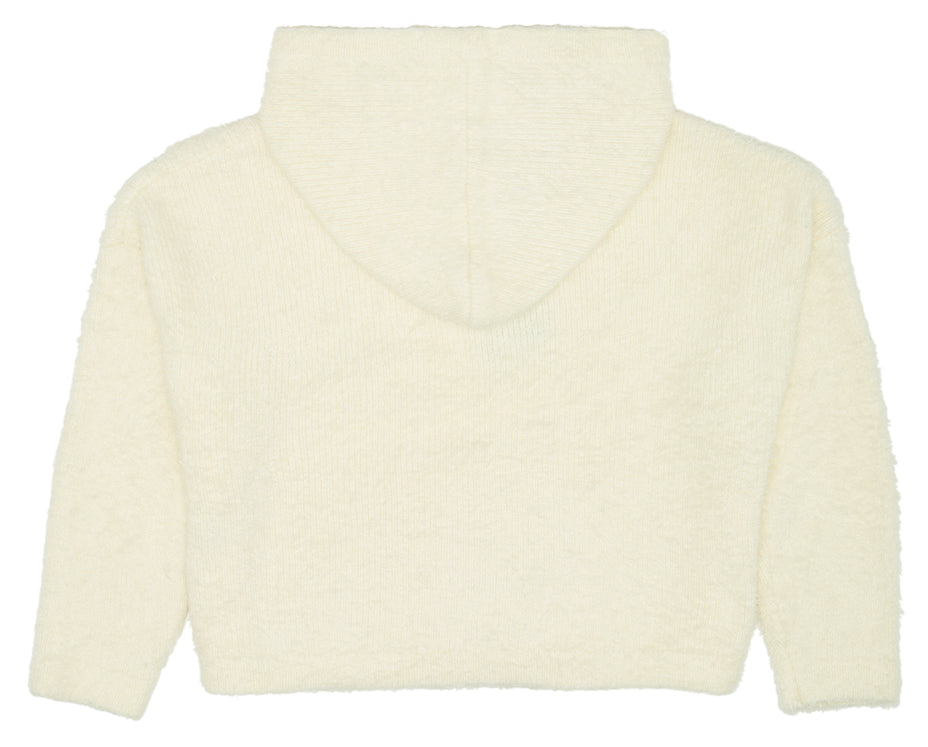 knitted cream soft hoodie for teenage girls