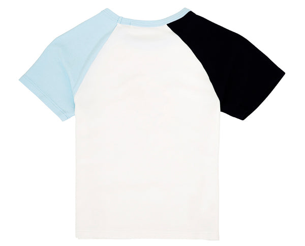 white blue and navy raglan t shirt with graphic print teenage girl