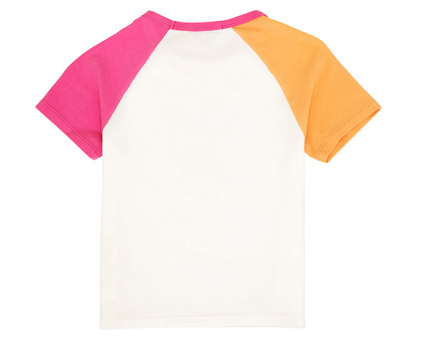 teen girl orange and pink contrast sleeve raglan tee in white with 97 print