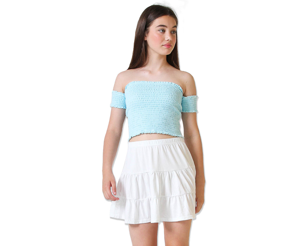 baby lock edge shirred top in pale blue cotton for teen girls