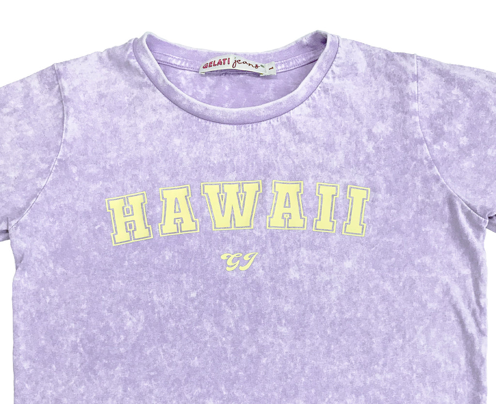 Hawaii Lilac Acid Wash Tee