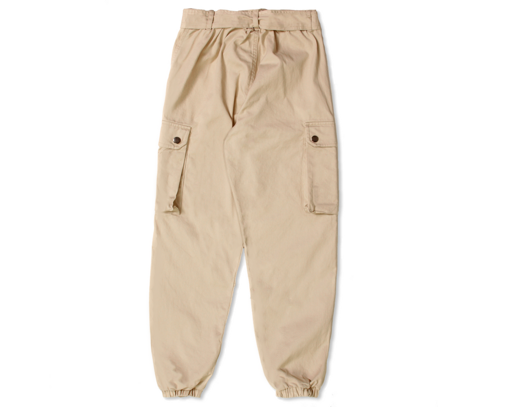teenage girl cargo pant in stone beige with detachable belt