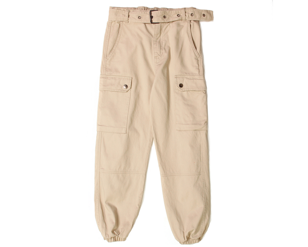 teen girl belted oversized cargo pants with pockets in beige