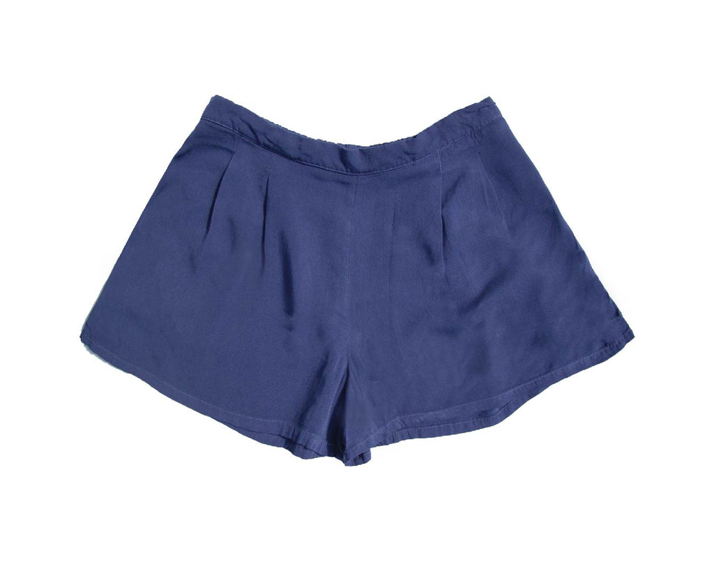 teen girl loose fitting navy rayon shorts in co ord