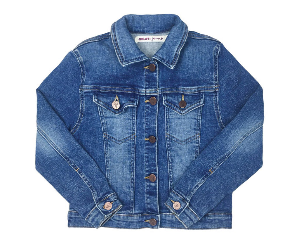 teenage girls mid wash denim jacket with gold sequin wing patches