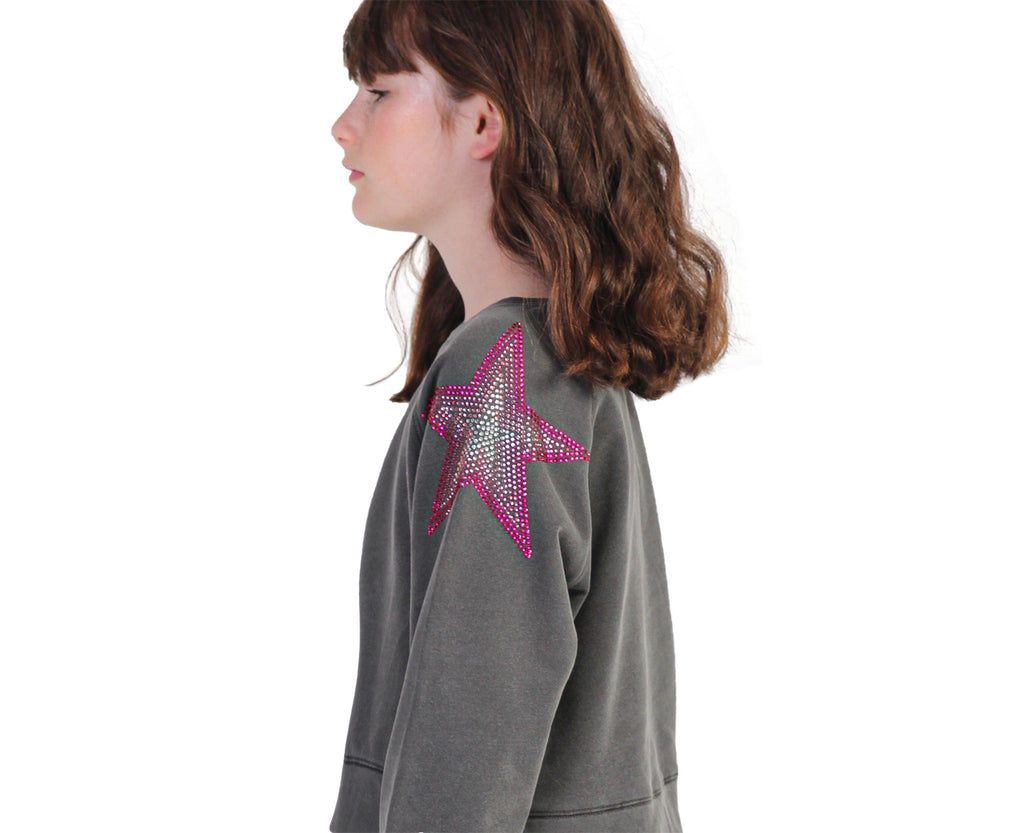 Youth Girls rhinestone pink star shoulder detail windcheater