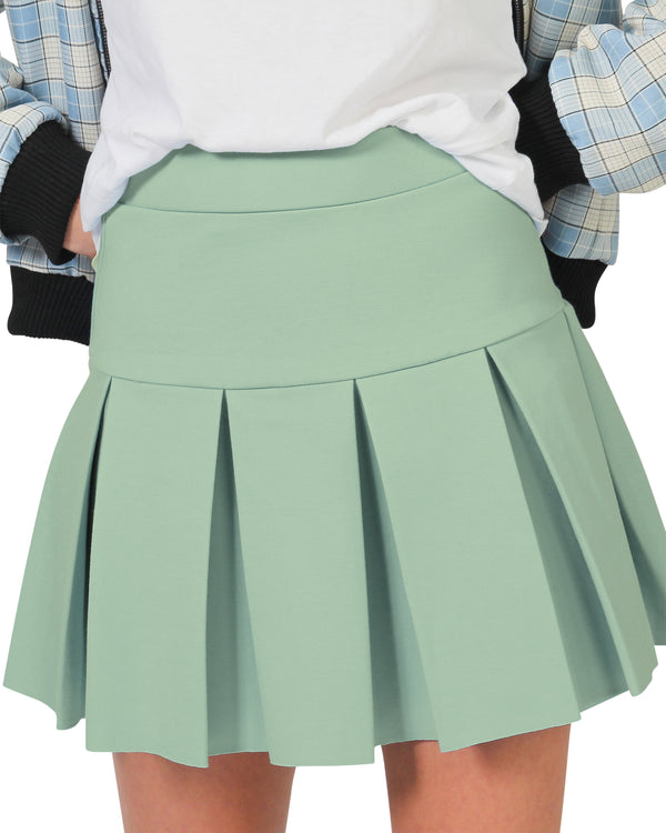 Polly Ponte Pleat Skirt - Sage Green