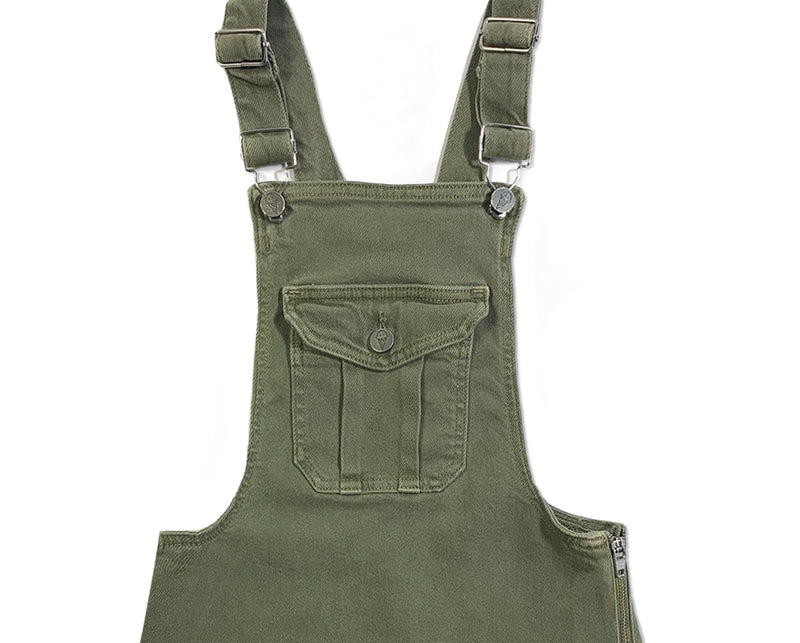 teen girls khaki denim pinafore with adjustable straps