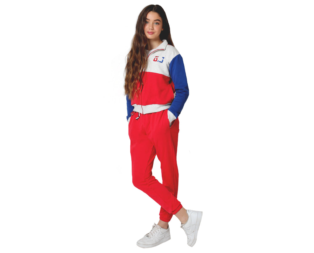 teenage girl zip up sweat shirt in blue red grey