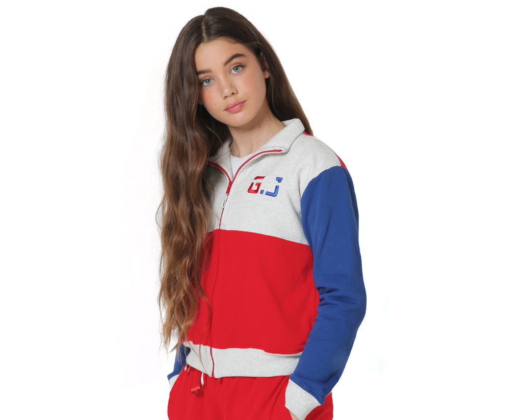 teen girl zip up jumper in contrasting grey blue and red