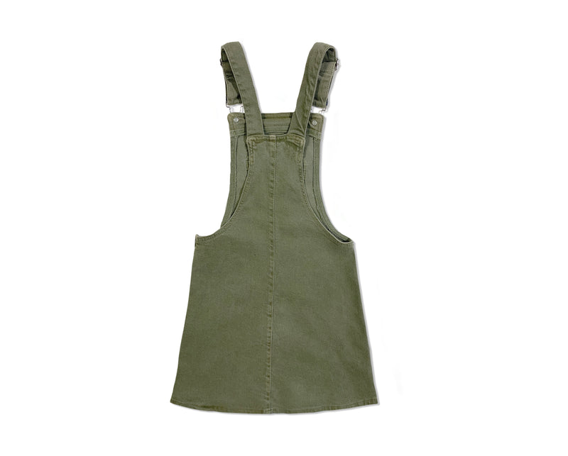 teenage girl denim pinafore in khaki with adjustable straps