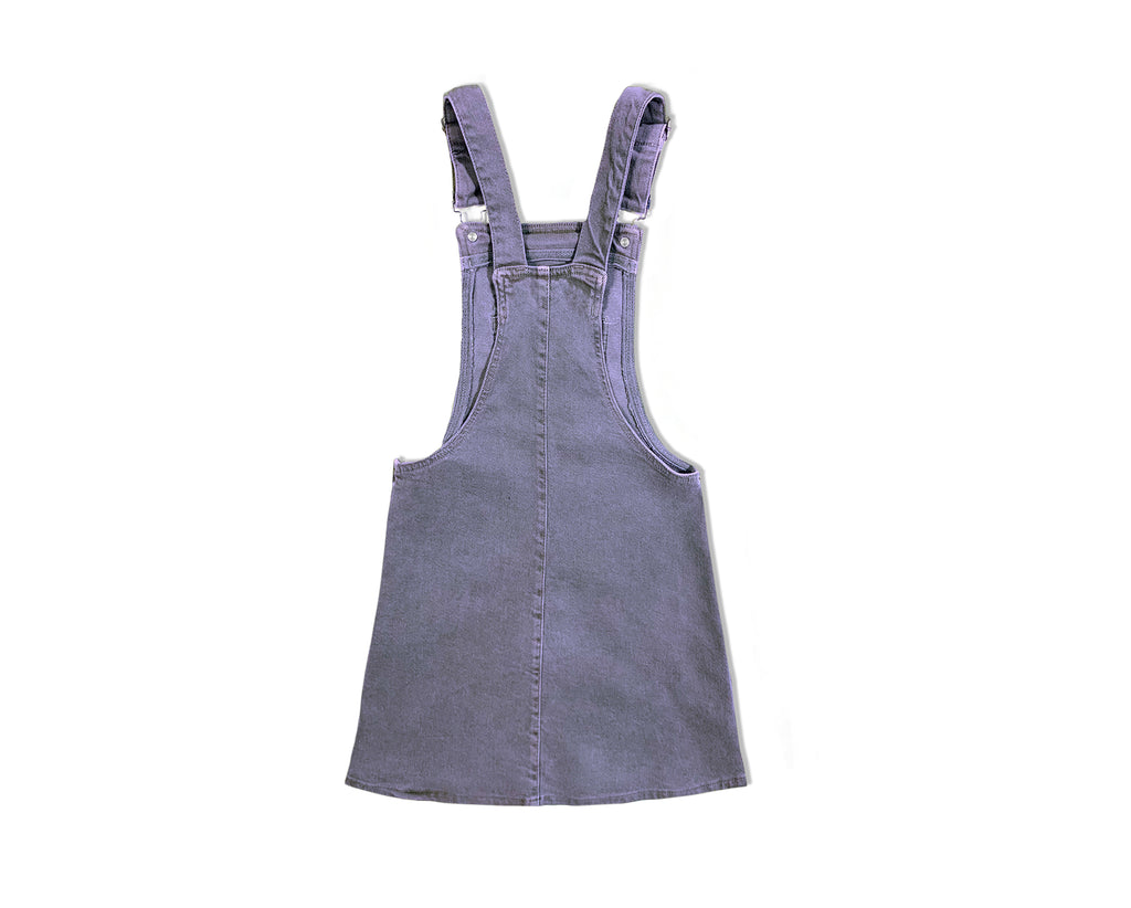 teenage girl blue pigment dyed denim pinafore