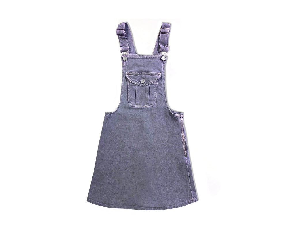 teen girl denim pinafore in blue pigment dye