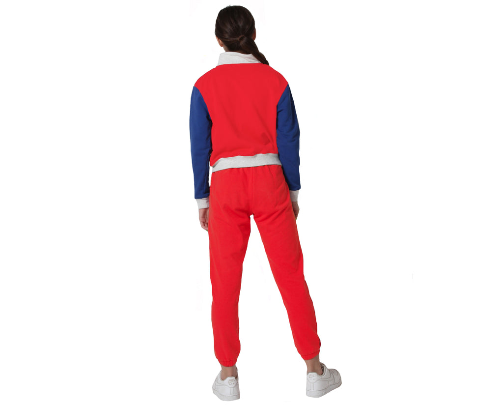 zip up jumper in grey red blue sporty teen girl