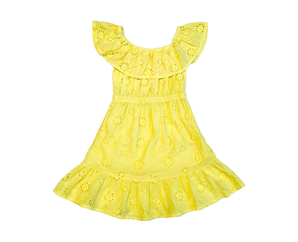 Annie Cotton Broderie Dress - Canary Yellow