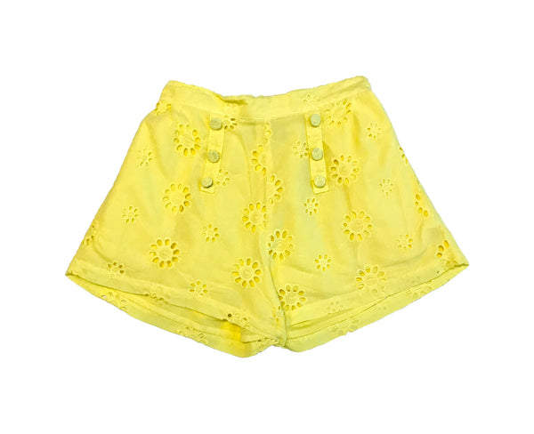 Annie Cotton Broderie Shorts - Canary Yellow