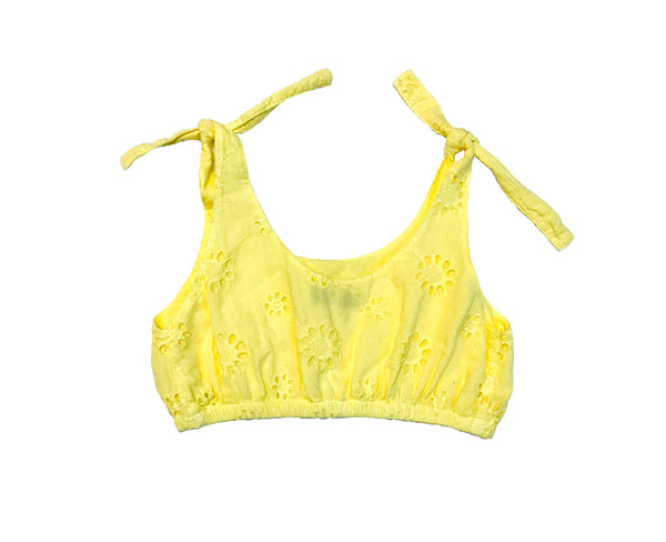 Annie Cotton Broderie Crop Top- Canary Yellow