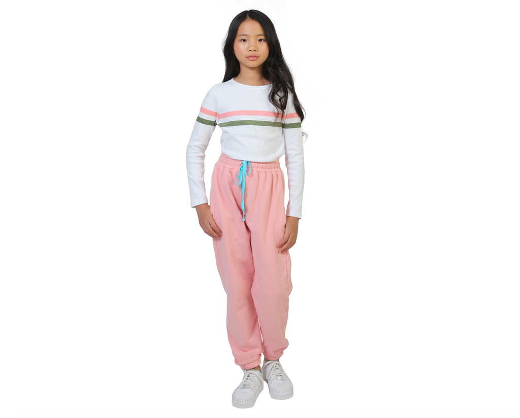 teen girl contrast pink track suit pants in cotton