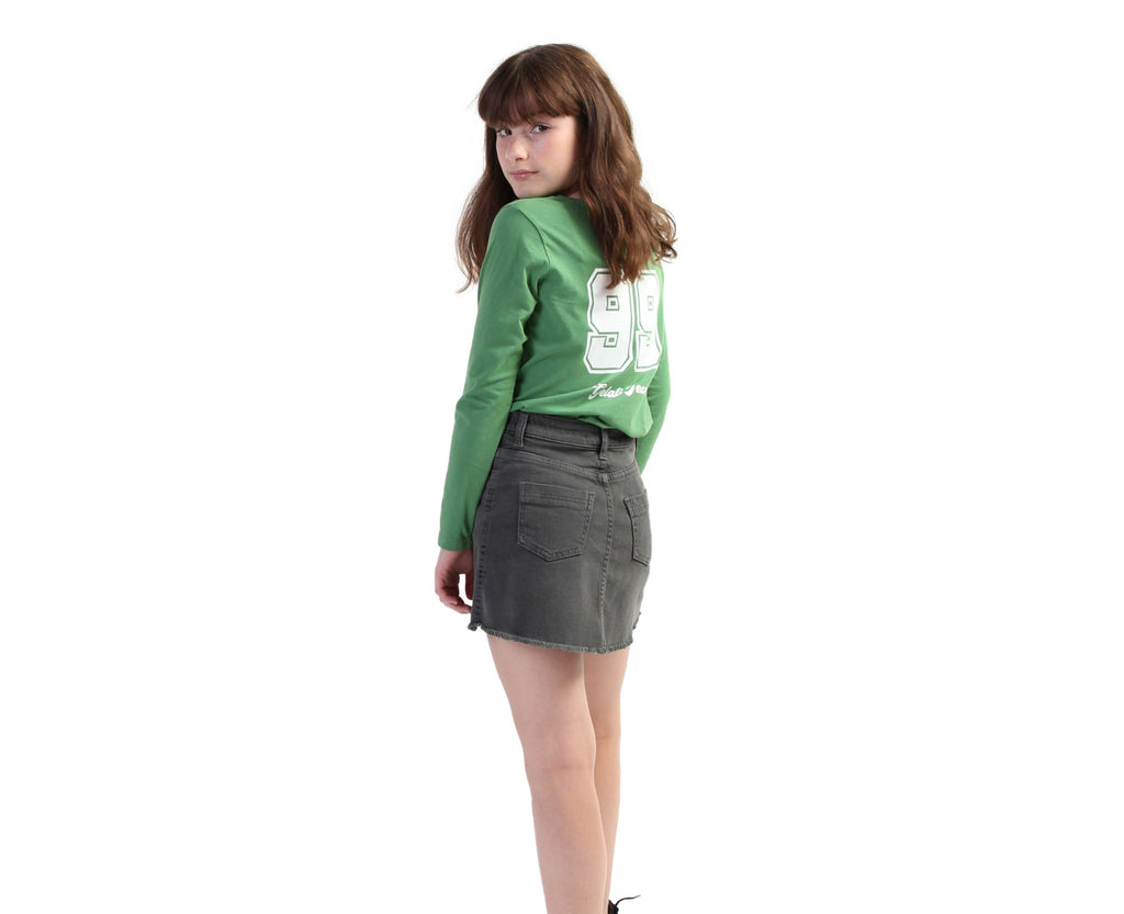 printed long sleeve tee for teen girls in green and white