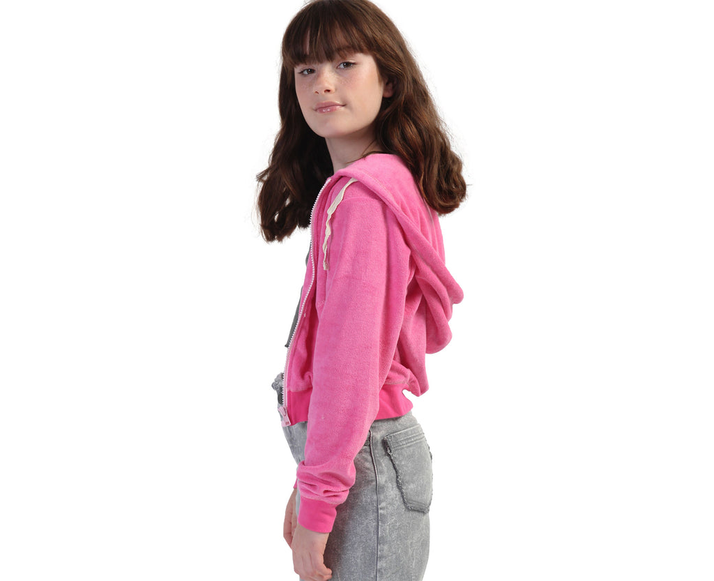 Bright Pink French terry towelling hoodie for teen girls