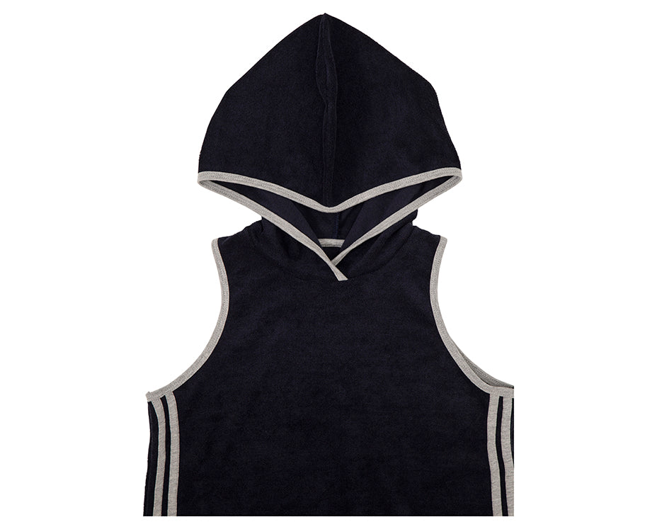 french terry towelling dress in navy with hood and contrasting stripes