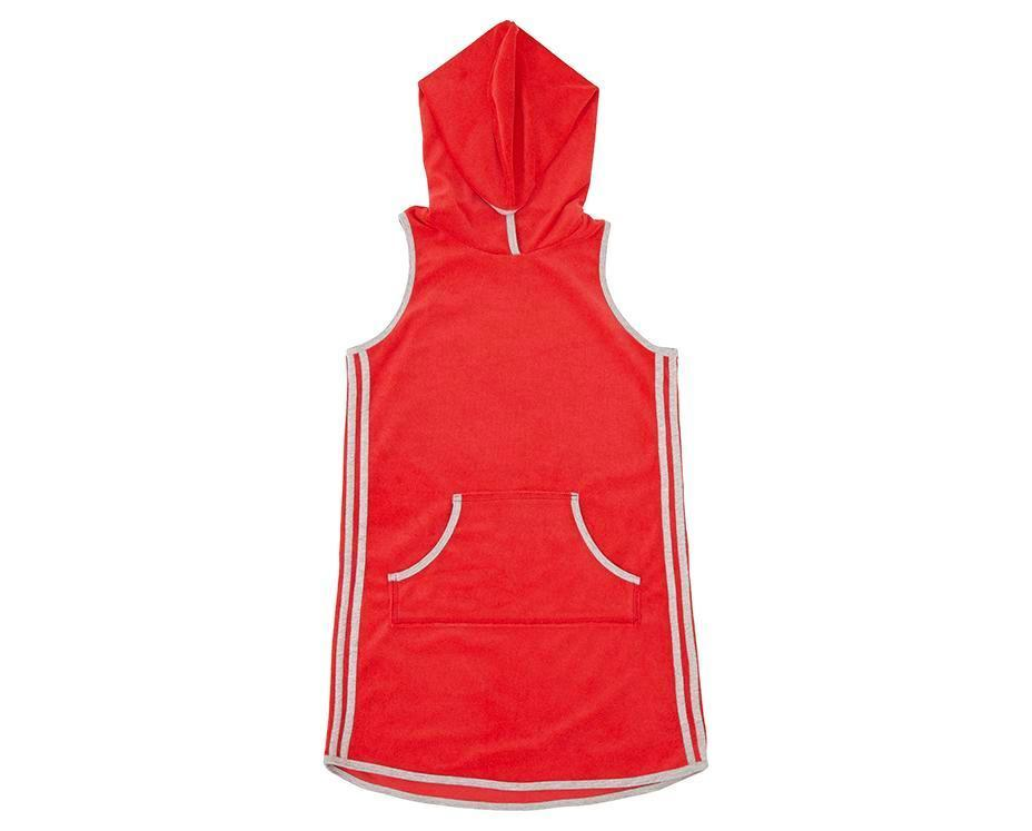 teen girl red french terry towelling dress with hoodie and contrast grey