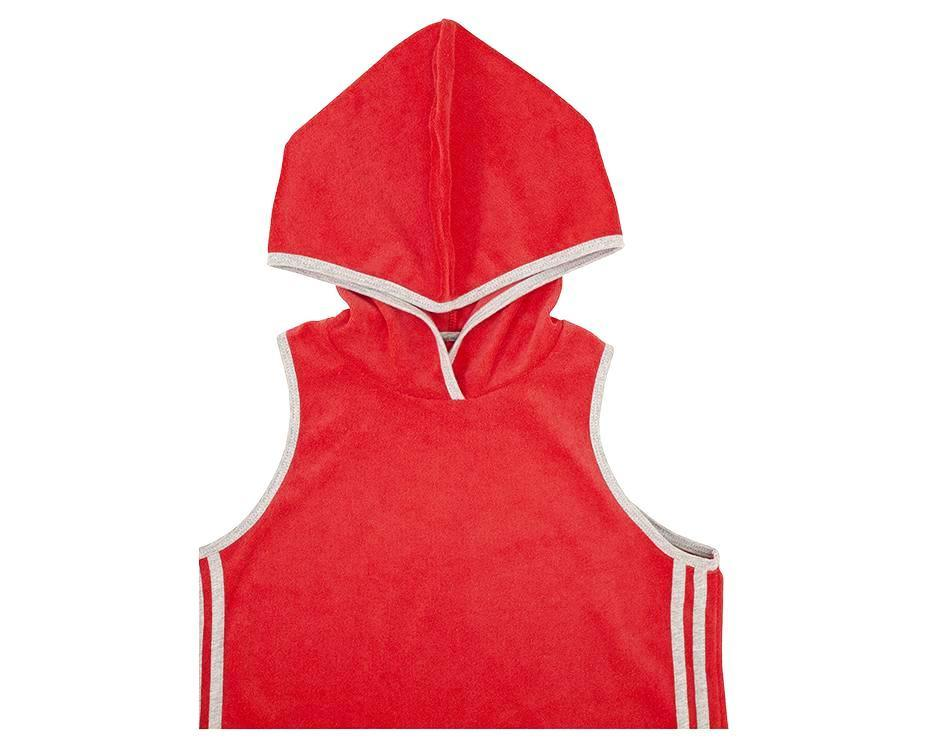 teenage girl hooded dress in red french terry