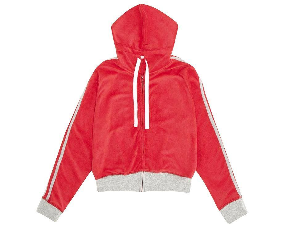 teenage girl red french terry towelling co-ord hoodie with contrast grey
