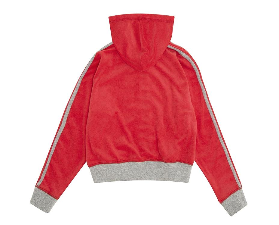 teenage girl french terry hoodie in red with contrast grey stripe