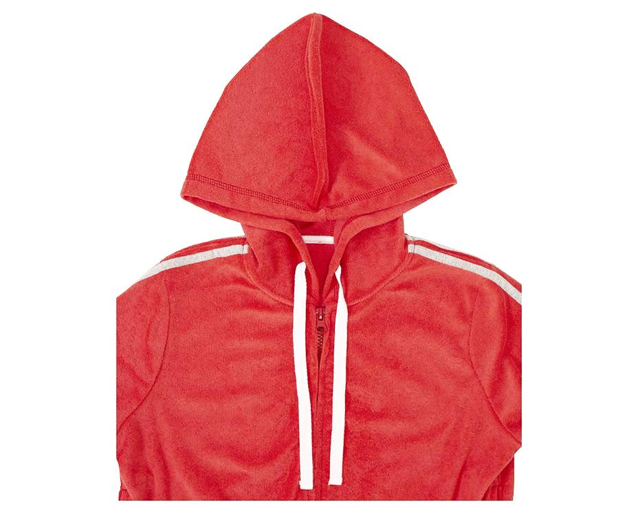 french terry towelling jumper in red with hood and contrasting stripes