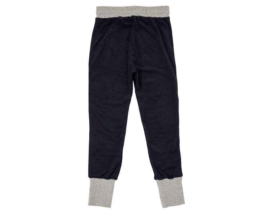 teen girl french terry towelling sweat pants in navy with contrast grey