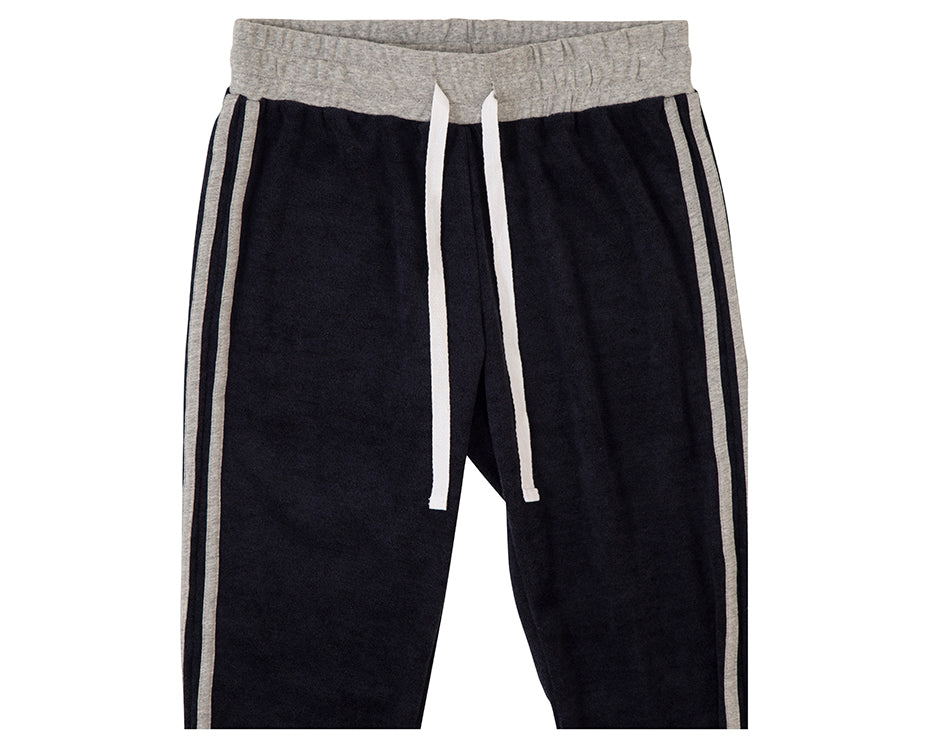 teenage girl navy french terry towelling track suit pants with contrasting grey