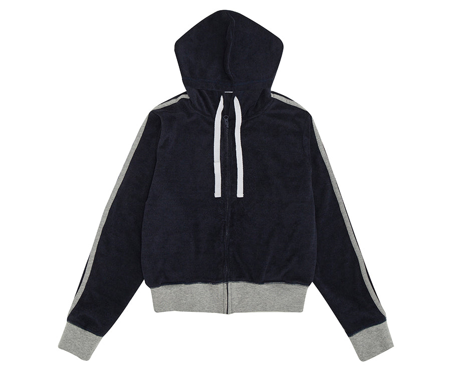 teen girl french terry towelling hoodie with contrast grey