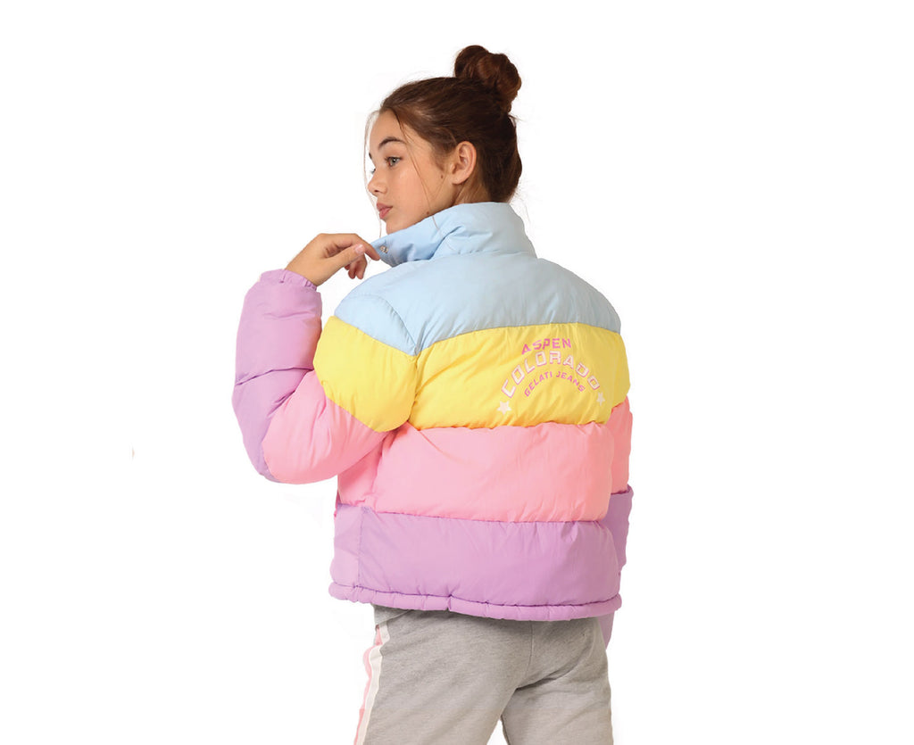 teen girl pastel puffer jacket in pink purple blue yellow