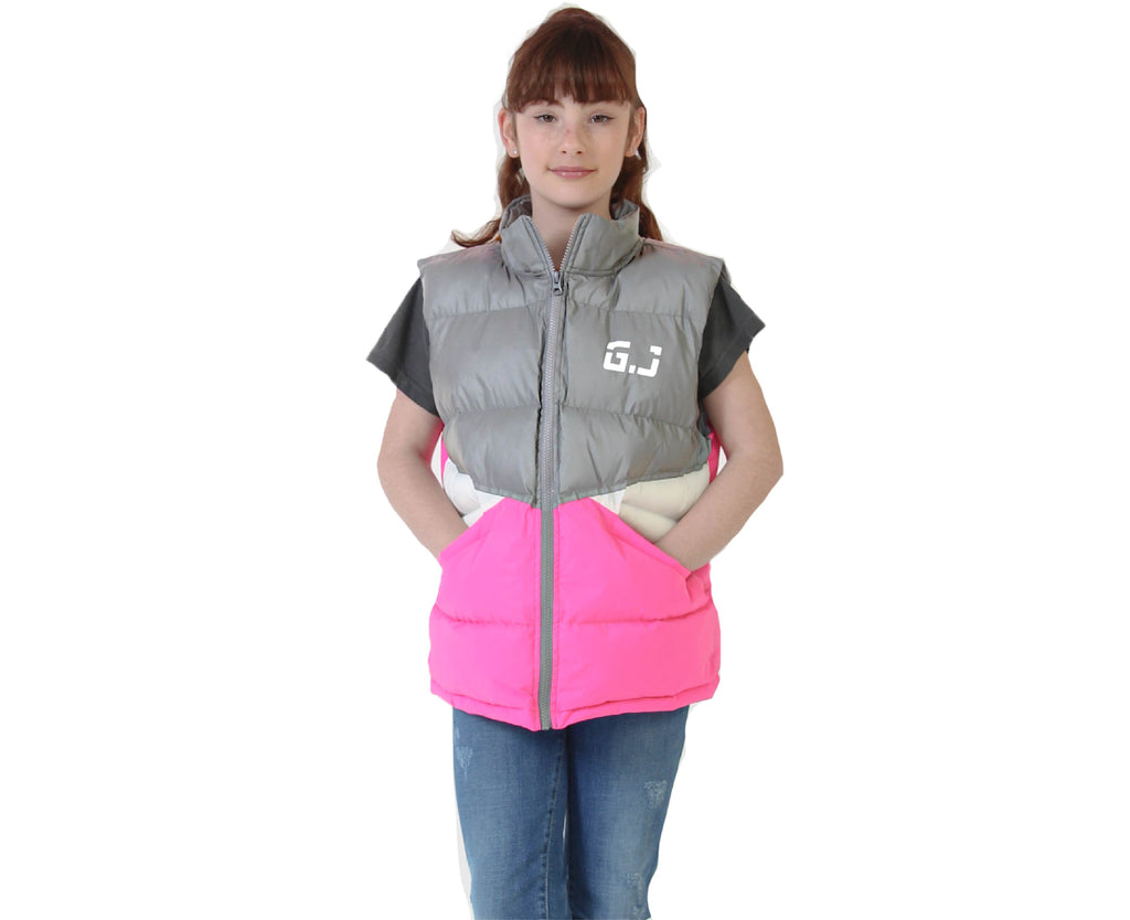 Teen Girl reflective puffer vest jacket pink silver