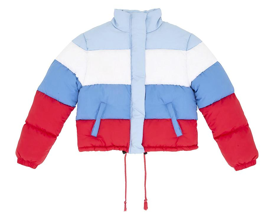 teen girl puffer jacket in blue red white with print