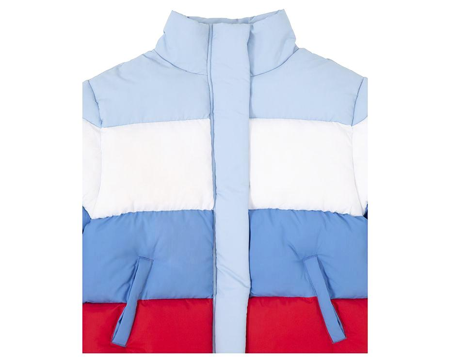 teenage girl puffer jacket primary blue red white with print