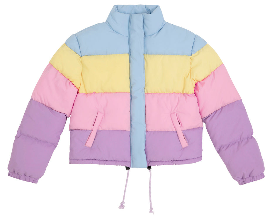 teenage girl puffer jacket pastel blue yellow pink purple