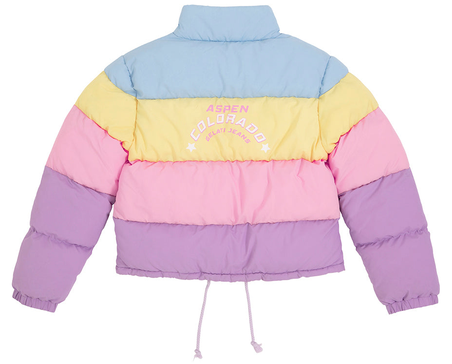 puffer jacket in pastel yellow blue purple pink with print teen girl