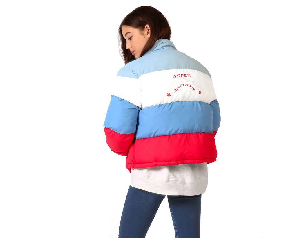 teenage girl puffer jacket primary blue red white