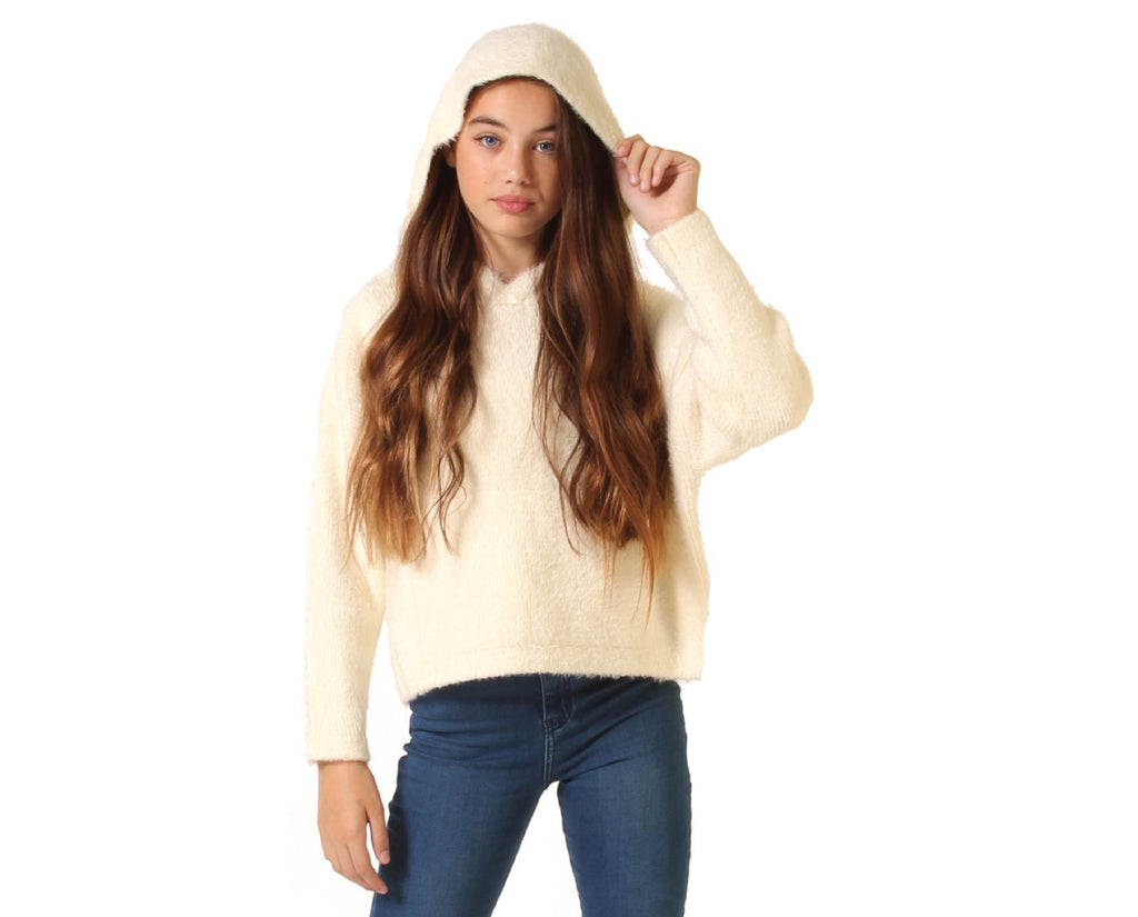 teen girls oversized fluffy jumper with hood