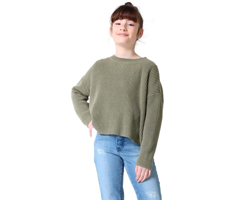 teen girl knitted knit jumper in khaki