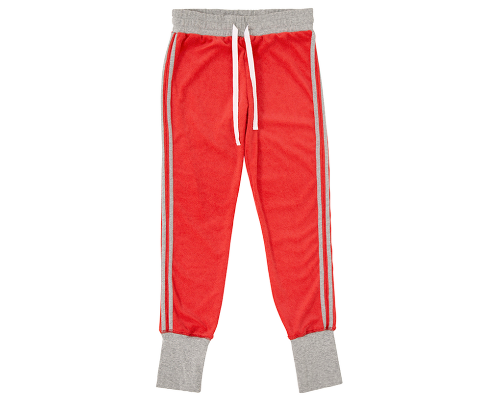 teen girl french terry towelling track suit pants in red